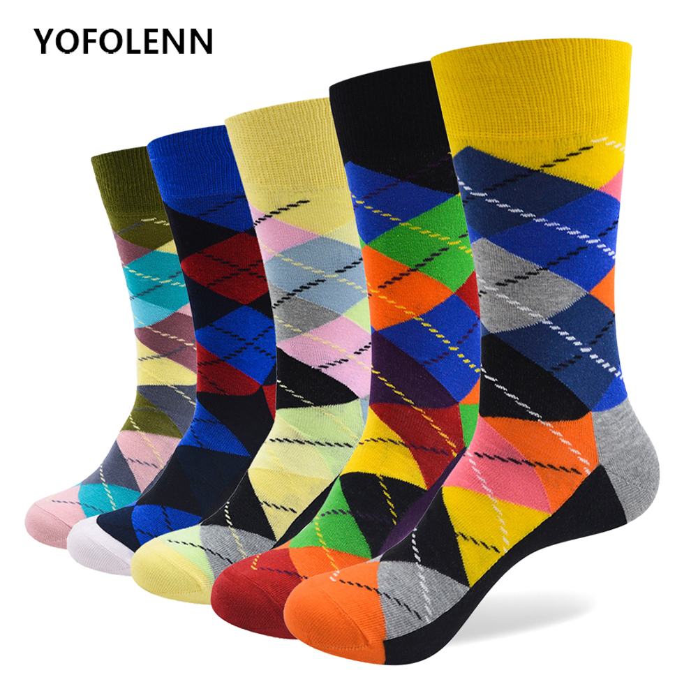 5 Pairs/lot Classical Colorful Men's Combed Cotton Socks High Quality Happy Busi