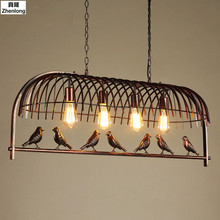 Creative Bird Cage Restaurant Iron Birds Pendant Lights Vintage Lamp for Kitchen Lighting Dining Room Retro Loft Pendant Lamp jentinsun new iron birdcage pendant lights lamp loft vintage wrought iron cage pendant light hanging lamps for villa restaurant