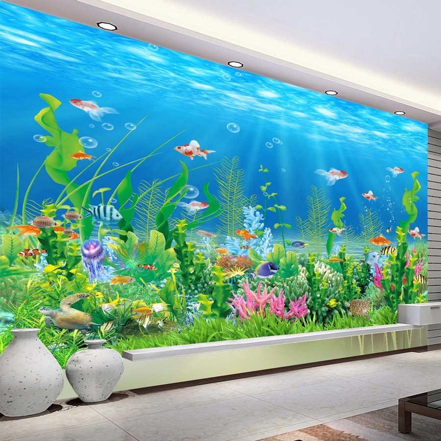 Kartun Dasar Laut Ikan Rumput Laut Dinding Mural Custom Kids Wallpaper Untuk Dinding Kamar Tidur Anak Kertas Dinding Dekorasi Rumah TV Latar Belakang