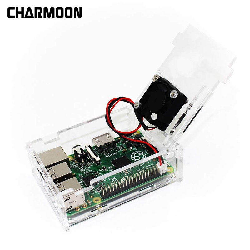 High Quality For Raspberry Pi 3 B+ Case,Acrylic Case Transparent Box Cover Shell With Cooling Fan For Raspberry Pi 3 B+/3/2/ B+
