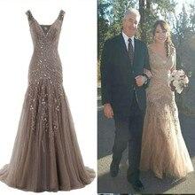 Роскошное Русалка бисерная шнуровка платье выпускного вечера v-образным вырезом Формальные платья для свадебной вечеринки