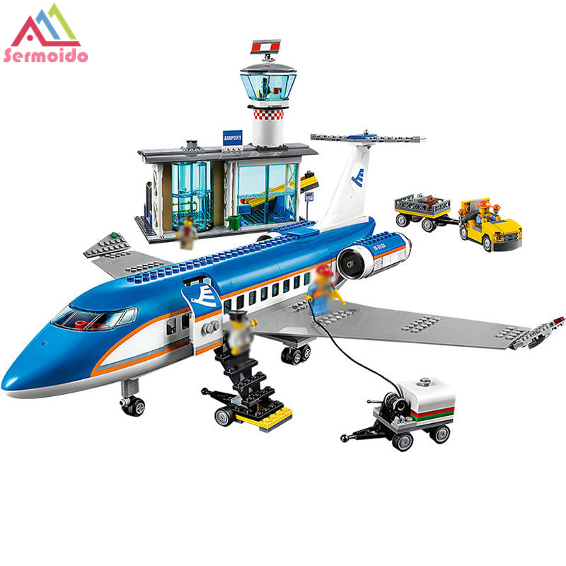 718pcs City Airport Passenger Terminal Plane Control Tower 02043 Model Building Blocks Assemble Toys Bricks Compatible With lego a toy a dream lepin 02043 718pcs building blocks bricks new genuine city series airport terminal toys for children gifts