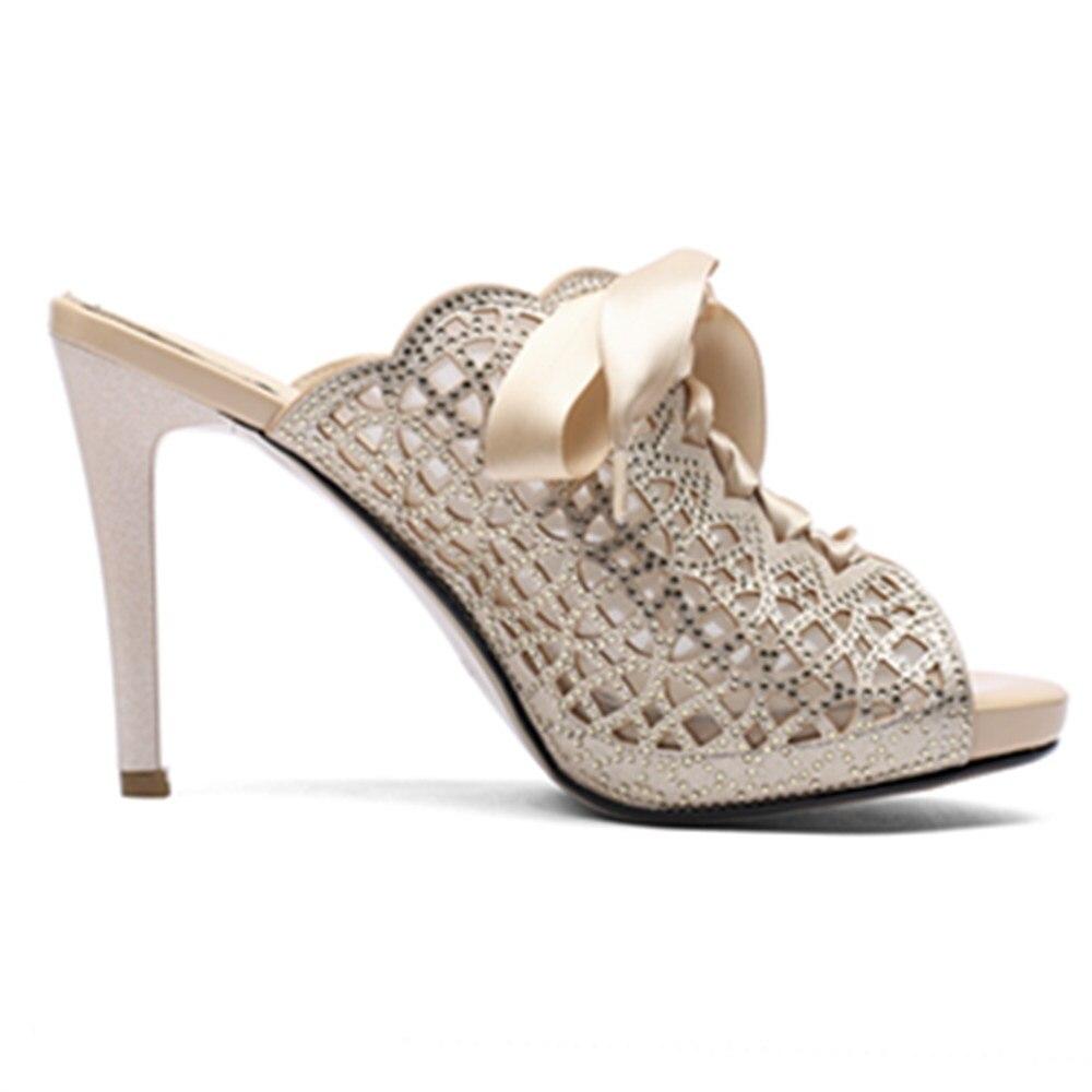 Talons Rhinstone 33 2018 forme Femmes De 40 Pu Mules Haute Asumer blanc Qualité Toe Bowknot Sandales Peep Plate Mariage Apricot Grande Taille Chaussures Nouvelle qSpGVUMz