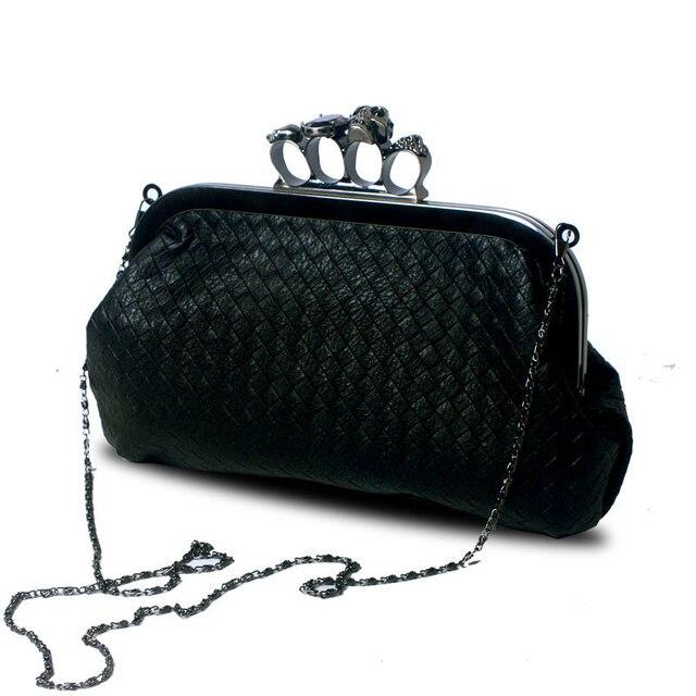 Inleela New Fashion Handwoven Skull Ring Chain Handbag Women Shoulder Messenger Bag Evening Bag Messenger Bag Women Leather