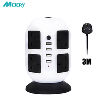 Vertical Power Strip Adapter Surge Protector 8 AC UK Outlets Socket with USB 4 Ports Overload Protection 2m/6ft Extension Cord