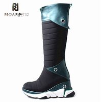 Prova Perfetto turned over design leisure style knee high boots increased platform wedge heel sneaker winter shoes long boots