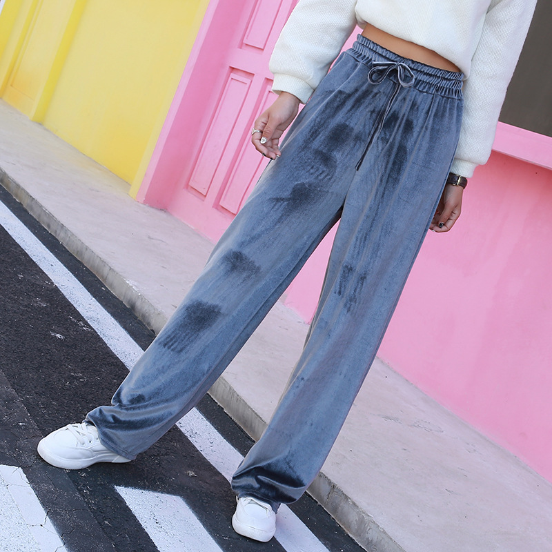 long   pants   women vadim autumn winter new Korean version high waist gold velvet pleated   wide     leg     pants   female rejection loose har