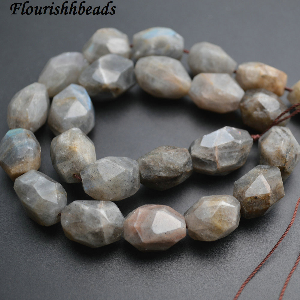 13x18mm Surface Cutting Natural Labradorite Stone Big Size Nugget Loose Beads ...