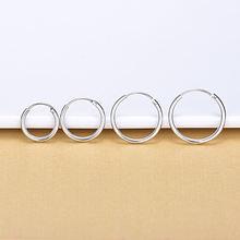 Серьги кольца женские круглые серебряные 5 разных размеров