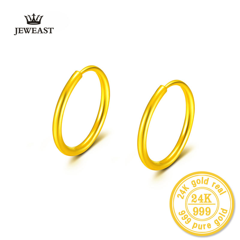 24k Pure Gold Hoop Earrings Smooth Circular Spherical Real 999 Solid Classic Fine Jewelry Hot Selling Gift Trendy Women Girl