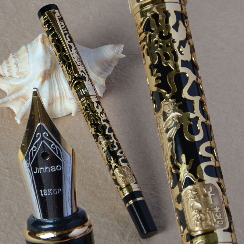 JINHAO 5000 BLACK AND GOLDEN MEDIUM NIB FOUNTAIN PEN DRAGON EMBOSSED italic nib art fountain pen arabic calligraphy black pen line width 1 1mm to 3 0mm