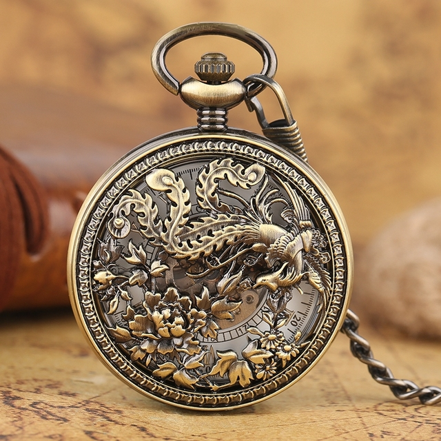 Classic Mechanical Pocket Watch Retro Hollow Phoenix with Peaony Carving Fob Cha