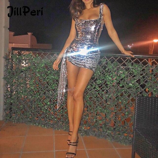 JillPeri nowa luksusowa Bling sukienka Mini z cekinami kobiet strój na co dzień Shinny spadł kwadratowy kołnierzyk krótka sukienka do klubu Sexy Party Dress