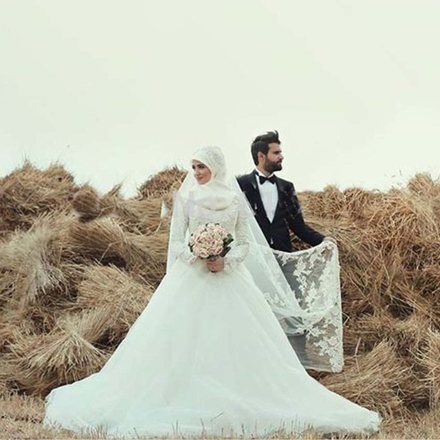 Trendy Vestido Noiva Muslim Wedding Dress Hijab New Long Sleeve Arabic Gown Satin A With Dresses