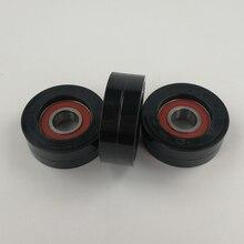 Раздвижной черный нейлоновый ролик/шкив/колесо упакованный покрытый нейлон 6204RS подшипник bore20mm, диаметр 70 мм, толщина 25 мм. 2 шт./лот
