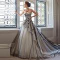 Charming 2016 Ball Gown Wedding Dress vestidos de noiva White Black Applique Tulle Bridal Gowns Luxury Wedding gowns  for Bride