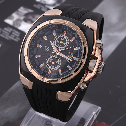 Hot V6 Watch Big Round Dial Black Silicone Quartz Analog Design Men Sport Watch male sports Wristwatch 3 colors mascuion relojes super speed v6 v0153 by check dial quartz wrist watch for men black yellow while 1 x lr626
