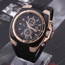 Hot V6 Watch Big Round Dial Black Silicone Quartz Analog Design Men Spo
