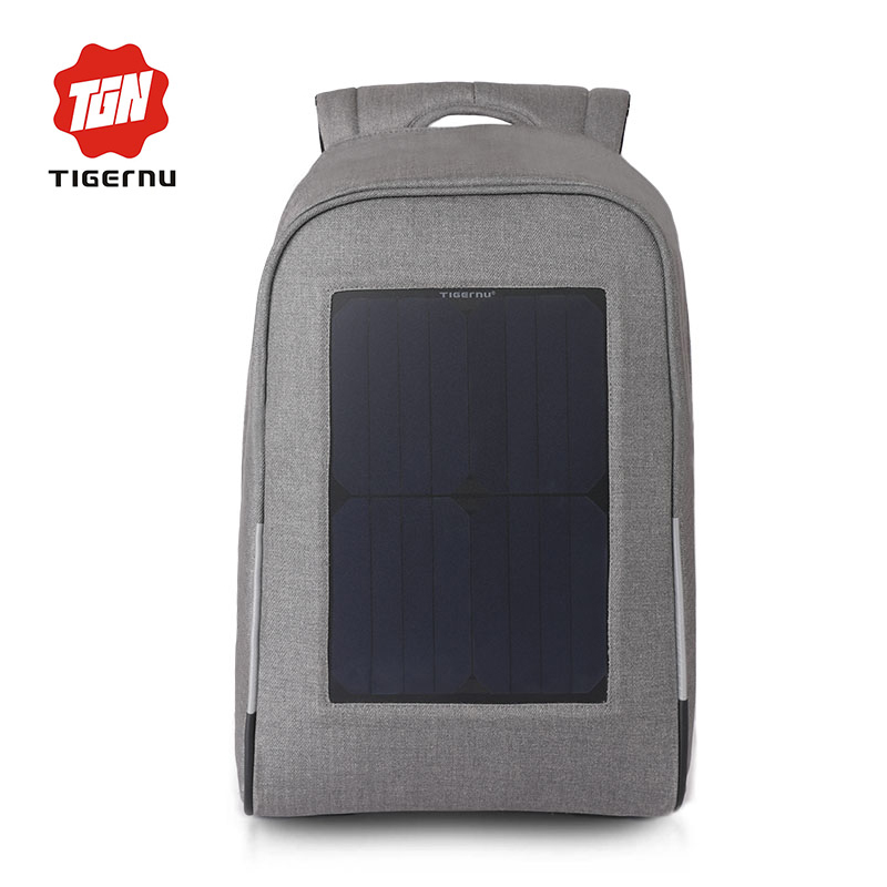 2017 Tigernu Brand Backpack 10W Solar Powered Backpack Usb Charging Anti-Theft 15.6inch Laptop Backpack for Men Women Laptop Bag