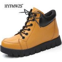 HYFMWZS Height Increasing 3CM Short Plush Women Boots Warm Winter Women Ankle Boots Non Slip Women