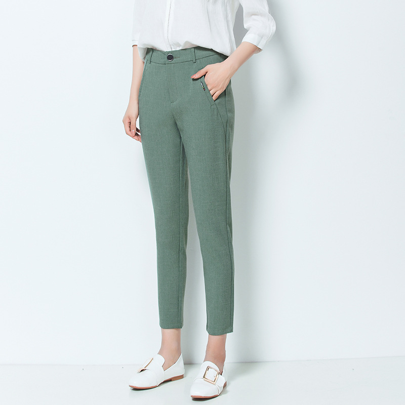 Women   Pants   &   Capris   Slim summer Solid color High waist thin Pencil   pants   Skinny Ankle-Length   Pants   Woman 8012
