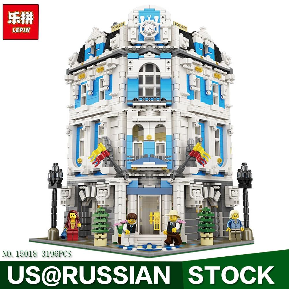 Lepin block15018 MOC Creator City Series The Sunshine Hotel Set Building Blocks Bricks 3196pcs Educational Toys