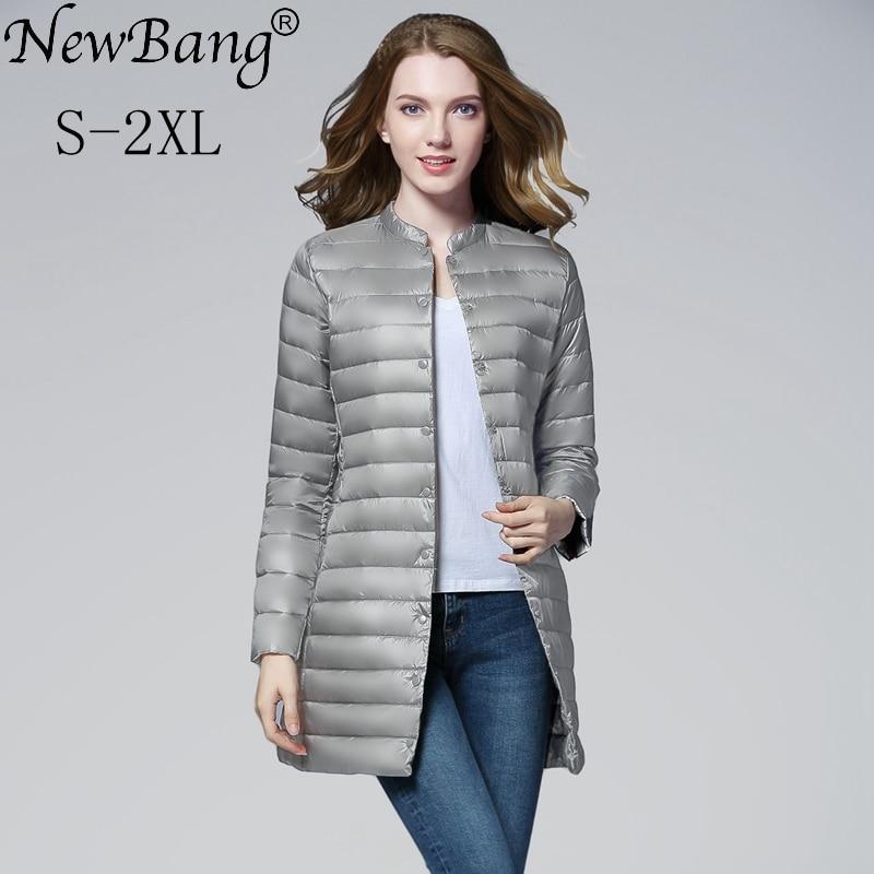 NewBang Brand Womens Spring Padded Warm Down Jackets Ultra Light Down Jacket Women Portable Female Long Feather Slim Jacket
