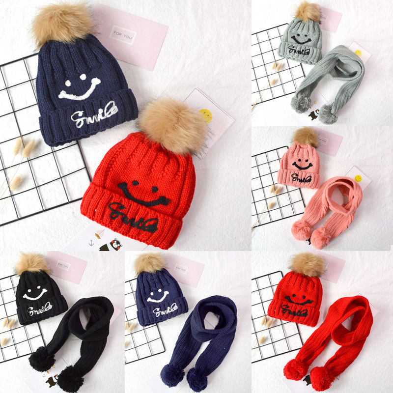 2019 Fashion Warm Winter Thick Hat&Scarf Sets For Kids Girls 2 Pieces Set Knitted Hat&Scarf Unisex Hat Scarf Set For Baby