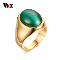 Vnox Exclusive Men Rings For Party Jewelry Bohemia Green Stone Wedding Engagement Rings 18K Gold Plated