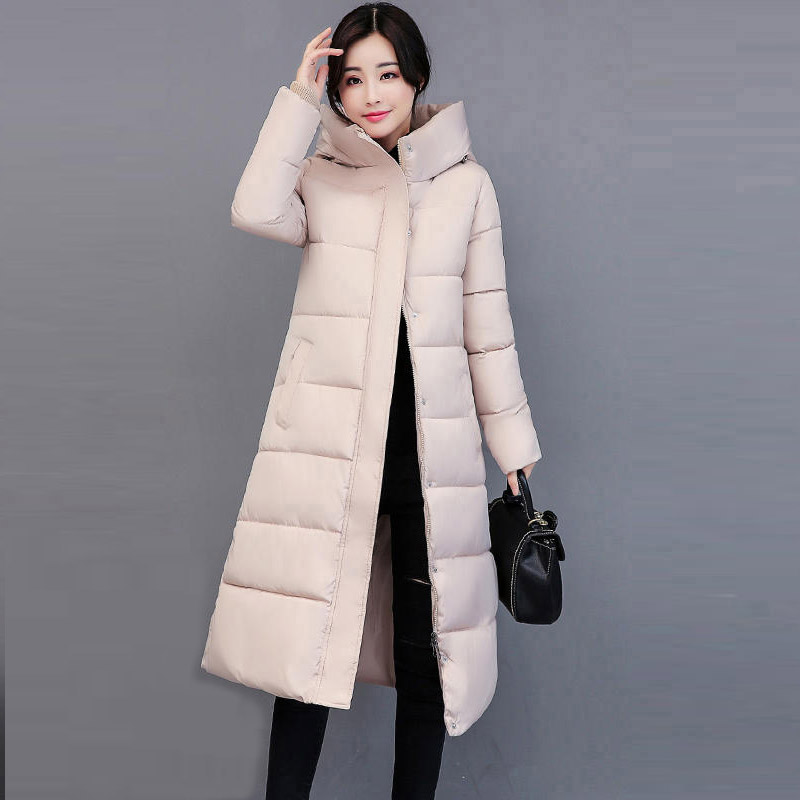 Winter Long Cotton Coat Women Slim Hooded Parka Outerwear Plus Size Thick Wadded Padded Jacket Cotton Coats XT0245 2017 winter jacket women fashion slim long cotton padded hooded jackets parka female wadded outerwear winter coat plus size 4l93