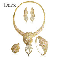 Dazz Women African Beads Jewelry Set Gold Color Cubic Zircon Wedding Indian Big Necklace Earrings Bangle
