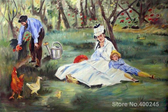 Art oil Painting The Monet Family in the Garden by Edouard