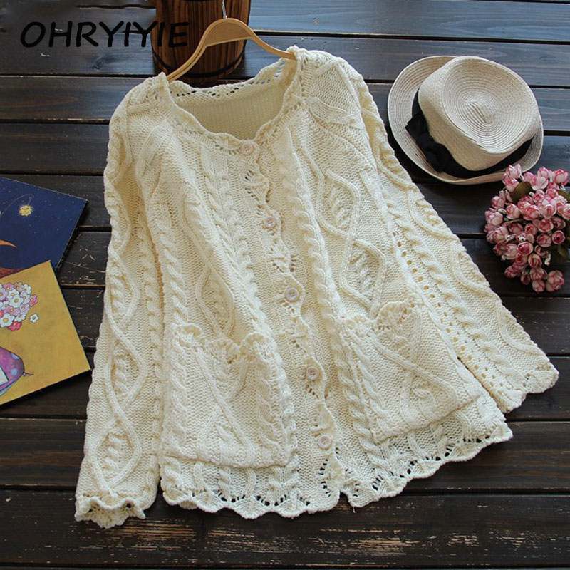 OHRYIYIE 2018 Spring Autumn Mori Girl Style Women Cardigan Solid Color Sweater Knitted Cotton Short Jacket Fashion Girl's Coat