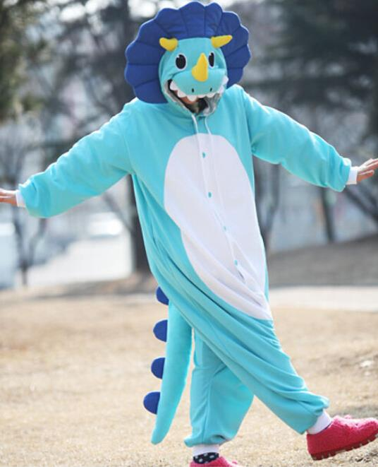 New Adult Animal blue  triceratops Cosplay Pajamas Onesie Sleepwear Costume