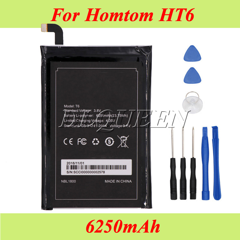 For Homtom HT6 Battery 6250mAh For Homtom HT6 & DOOGEE T6 Batterie Bateria Accumulator AKKU+Tool