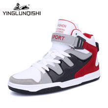Men's High Top Trainers Men Casual Shoes 2016 New Designer Autumn Outdoor Street Wear Board Shoes Red Blue Size 39-44