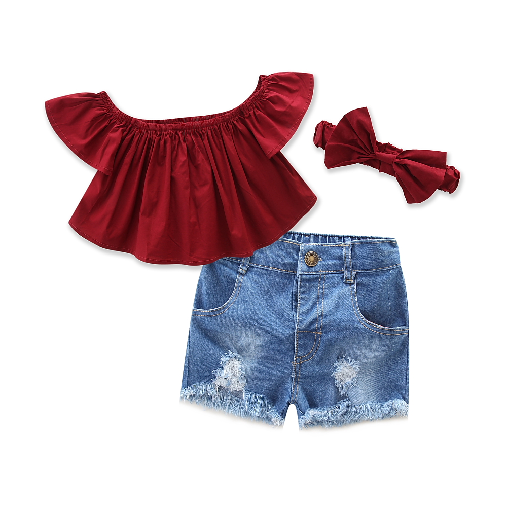Baby Girls pants Dark Red Tops+Denim Shorts +headband 3pcs Set 2018 Summer Casual Clothes Set Children Clothing for size 1-6Y 3pcs outfit infantil girls clothes toddler baby girl plaid ruffled tops kids girls denim shorts cute headband summer outfits set
