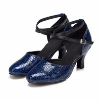 Genuine Leather Women Latin Dance Shoes Blue Women Ballroom Jazz Tango Salsa Dance Shoes Sexy Women