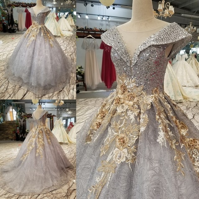 719a35e50e0 QUEEN BRIDAL Gray Evening Dresses Ball Gown 3D Flowers Beading Tulle Fluffy  Luxury Formal Prom Party Dress Vestido De Festa BY56