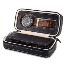2 Grids PU Leather Travel Watch Storage Case Zipper Wristwatch Box Organizer