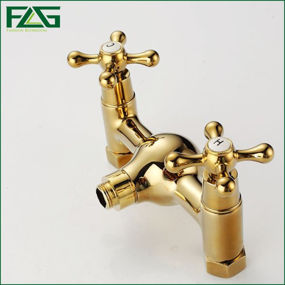 FLG Wall Mounted Bathtub Faucet With Ceramic Hand Shower Waterfall ...