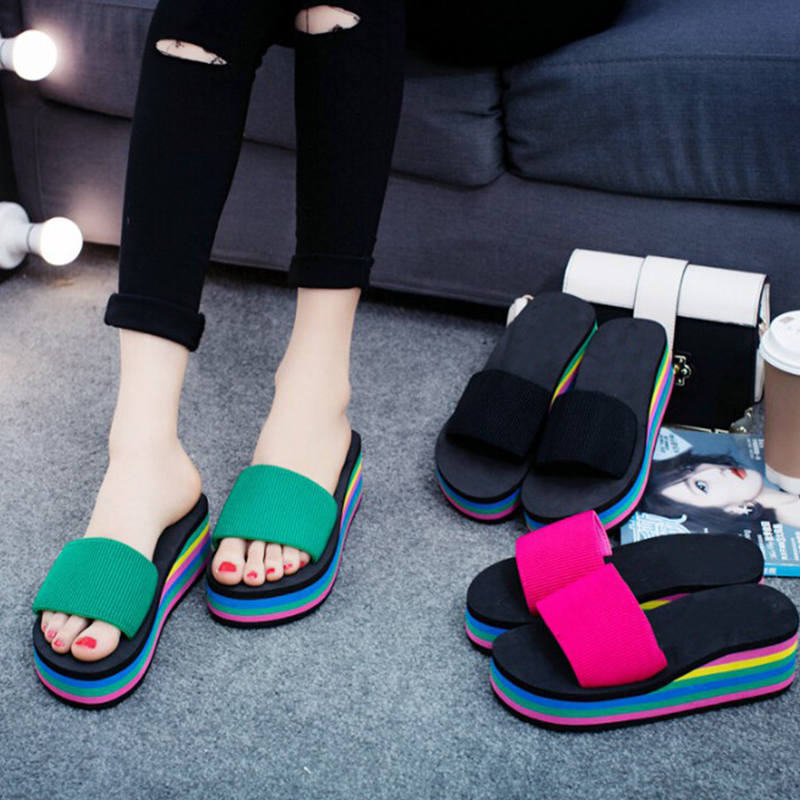 fashion summer wedge women slippers bohemia gladiator leisure beach platform slippers female ladies footwear women shoes dc49
