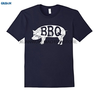 GILDAN 100 Cotton O Neck Printed T Shirt Barbecue T Shirt BBQ Pig Grilling Pit Competition
