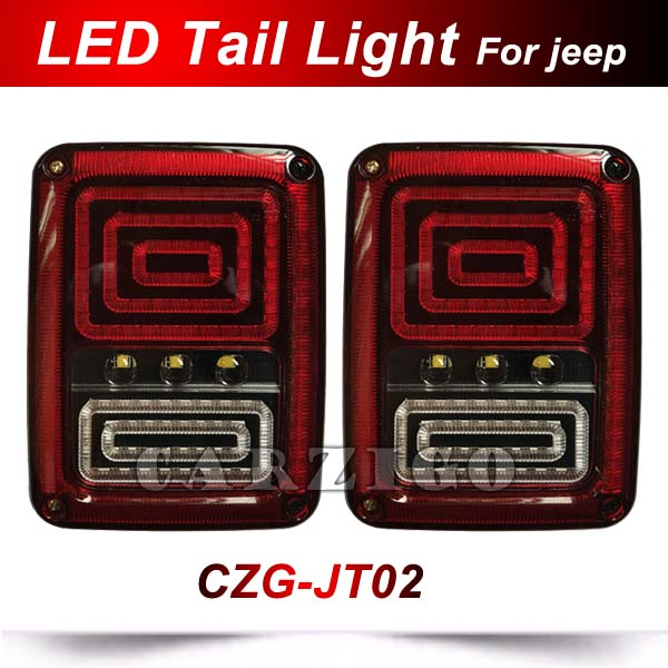 CZG-JT02 led rear light US version led tail light for jeep wrangler JK led tail lamp for jeep ATV 4x4 truck off-road automobiles 2 pcs led rear lights us europe version brake reverse tail lamps for atv 4x4 truck off road automobile auto for jeep wrangler