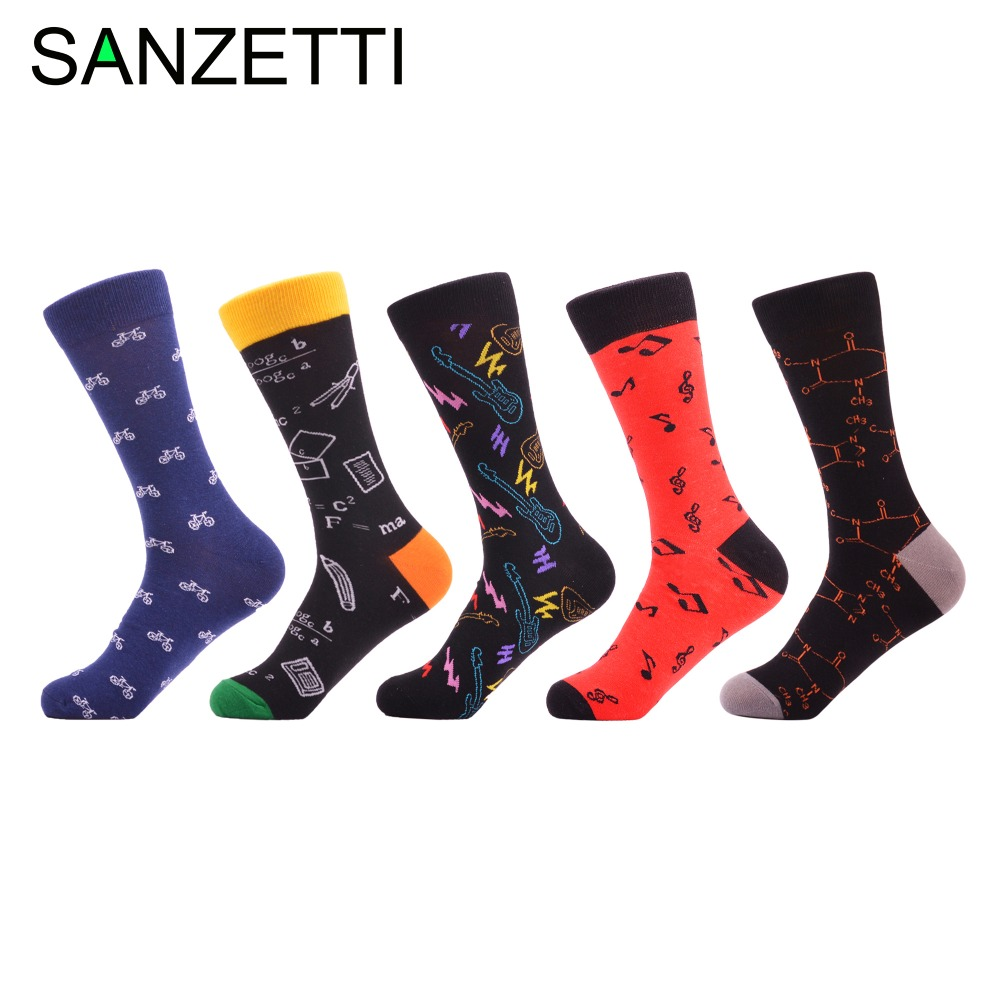 SANZETTI 5 pair/lot Fashion Men's Colorful Bicycle Pattern Funny Dress   Socks   Combed Cotton Casual Long   Socks   For Christmas Gifts