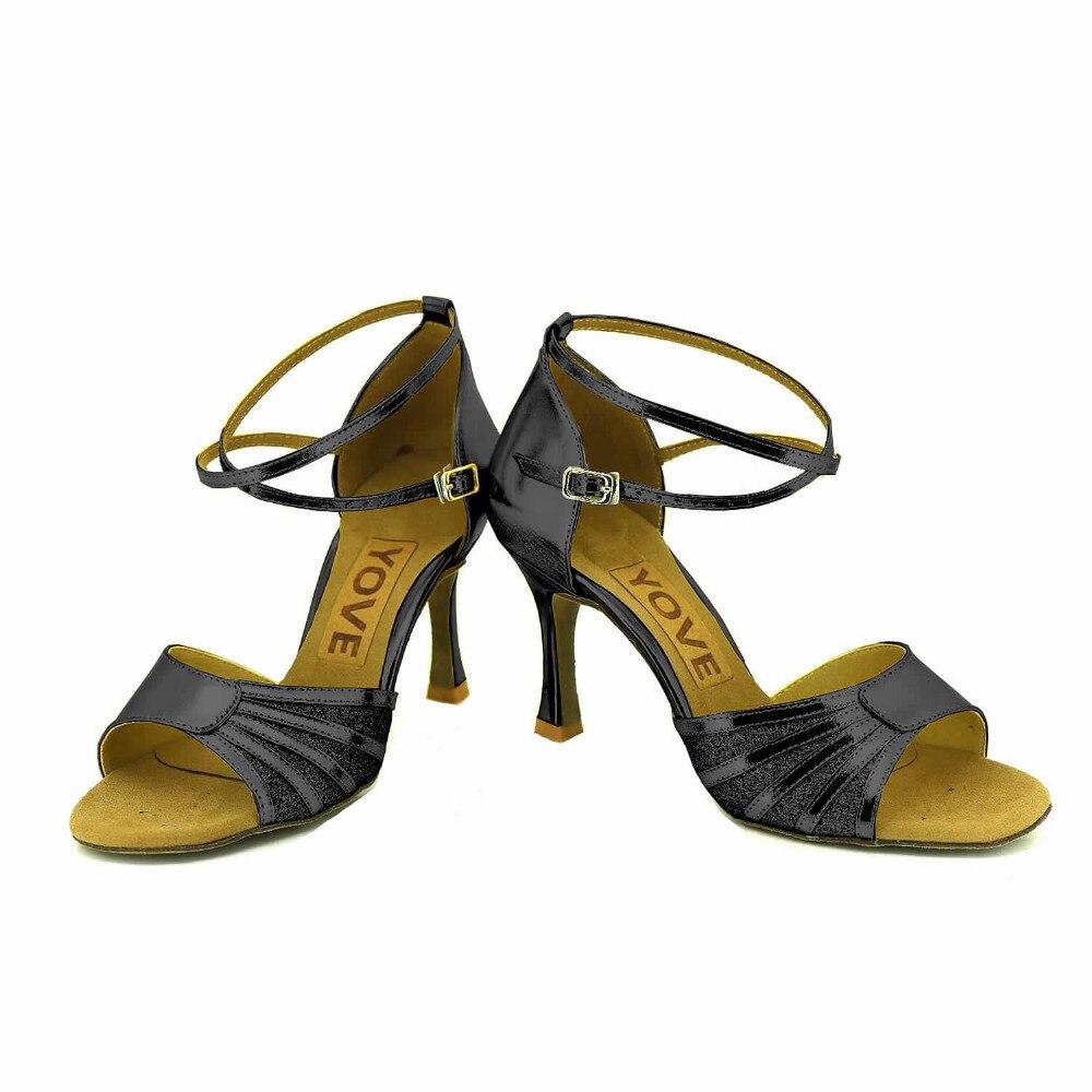 YOVE Dance font b Shoe b font PU Women s Latin font b Salsa b font