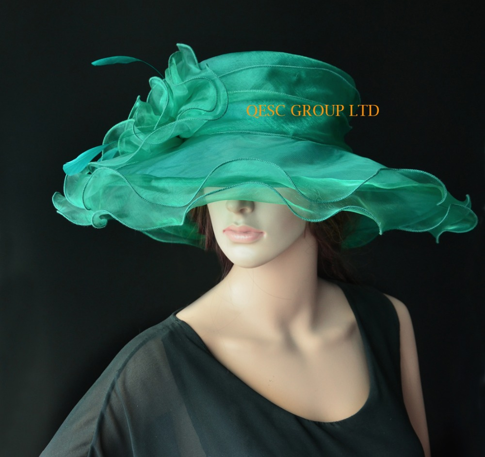 NEW Dark green Wide Brim organza hat formal dress hat for wedding ... dbe62ef44aa