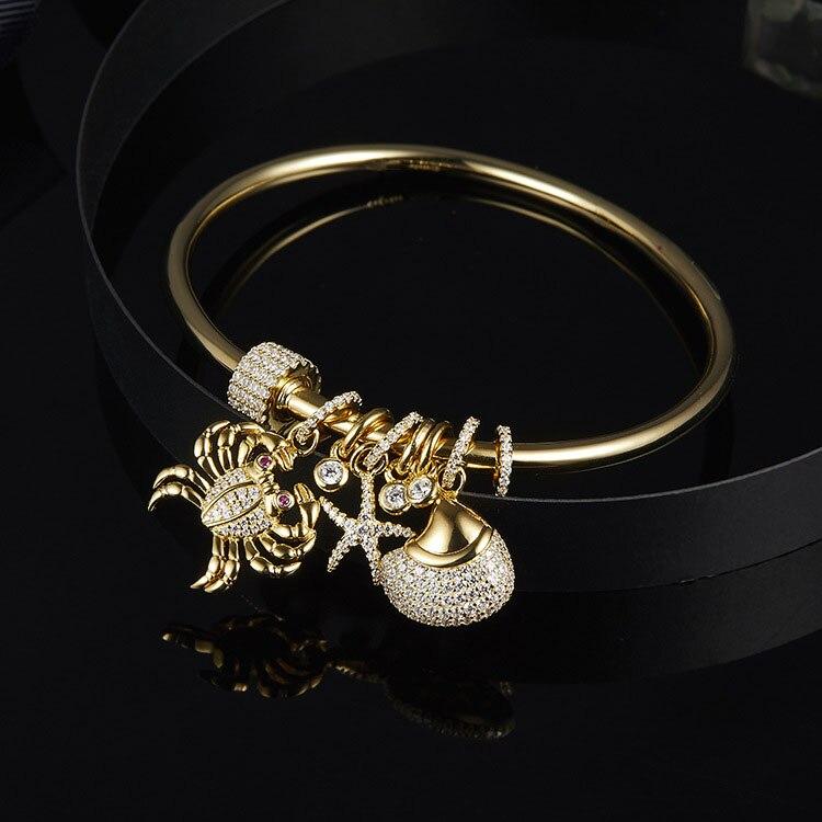 Aliexpress 2018 nouveau 925 bijoux en argent sterling Zircon animaux étoiles bracelets et bracelets bijoux romantiques pour les femmes-in Bracelets from Bijoux et Accessoires    1