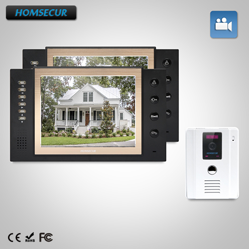 "HOMSECUR 8"" Wired Video Door Entry Security Intercom with One Button Unlock  TC011-W + TM801R-B"