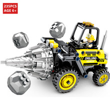 235Pcs City Engineering Drilling Vehicle Roller Truck Building Blocks Sets  Technic Bricks Toys for Children legoinglys 799pcs technic truck city engineering vehicle model building blocks sets creator bricks toys for children
